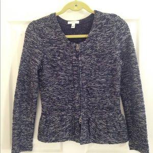 Navy and white knit blazer - pockets and ruffle